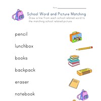 back to school matching words to pictures worksheet