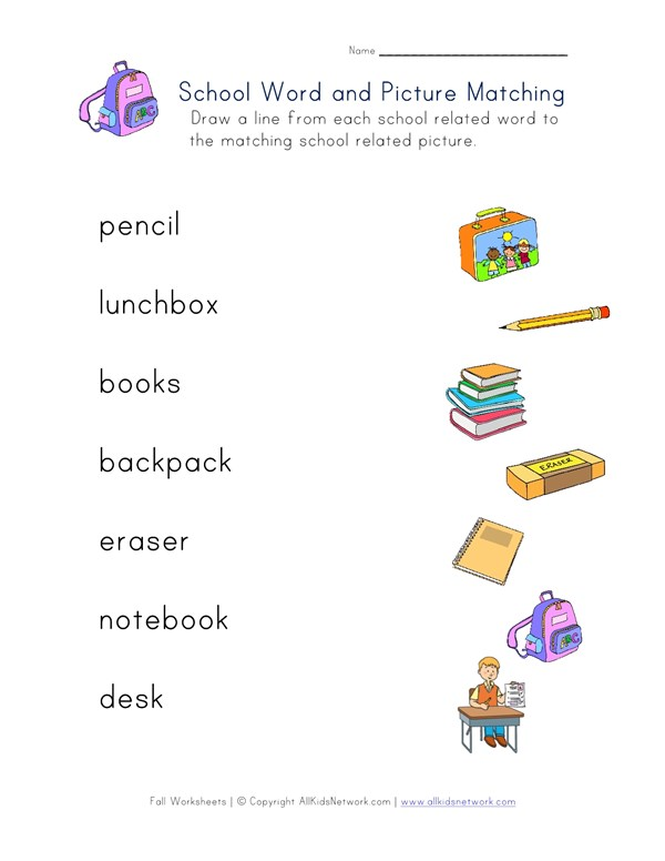 Back to School Matching Words Worksheet | All Kids Network