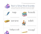 back to school word scramble