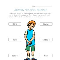 body part actions worksheet