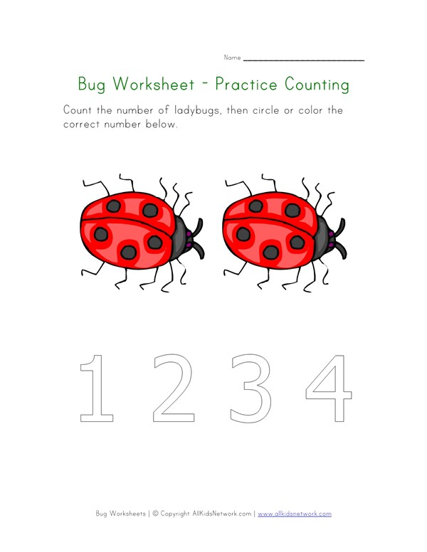 Bugs Worksheet - Counting to Two | All Kids Network