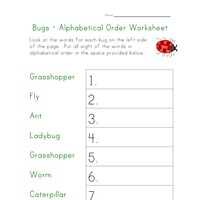 bugs worksheet - alphabetical order