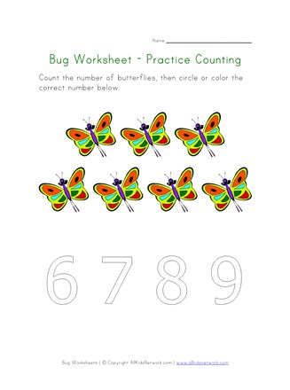 bugs worksheet counting seven