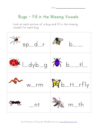 image regarding Printable Bugs named Printable Bug Dropped Letters Worksheet All Children Community