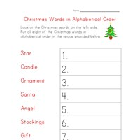 christmas worksheet alphabetical order