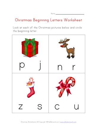 Christmas Beginning Letters Worksheet All Kids Network