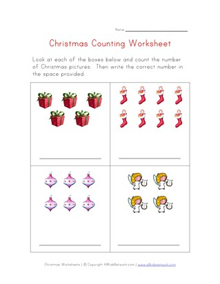 christmas counting practice worksheet