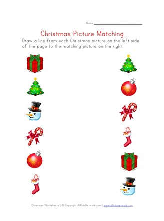 christmas matching worksheet
