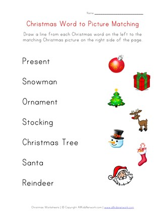 Christmas Worksheets.Christmas Word Matching Worksheet For Kids All Kids Network