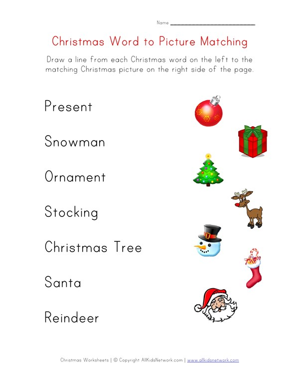 Christmas Word Matching Worksheet for Kids | All Kids Network