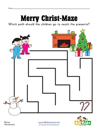 Christmas Activity Pages - Christmas line-maze Activity Sheet ... | 440x327