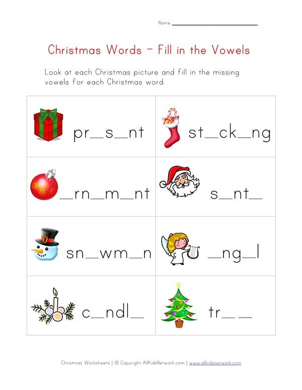 christmas word worksheet for kids missing vowels all kids network