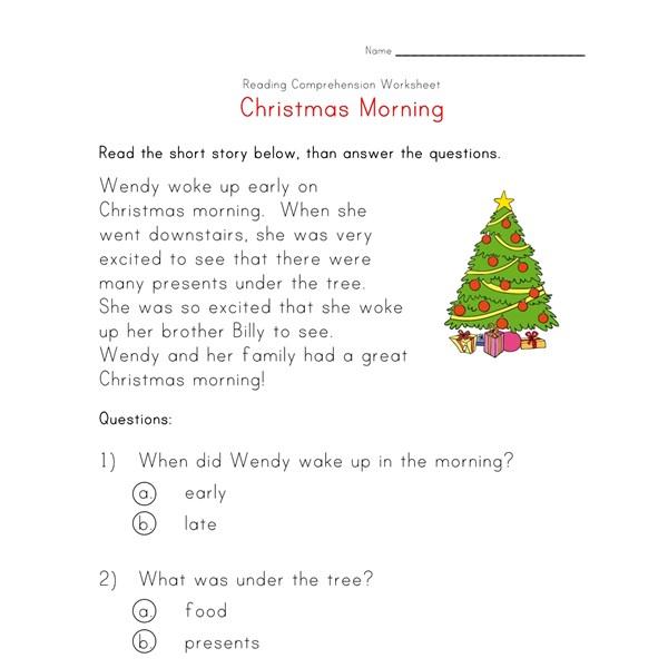 Worksheets Christmas Reading Comprehension Worksheets christmas reading worksheet all kids network