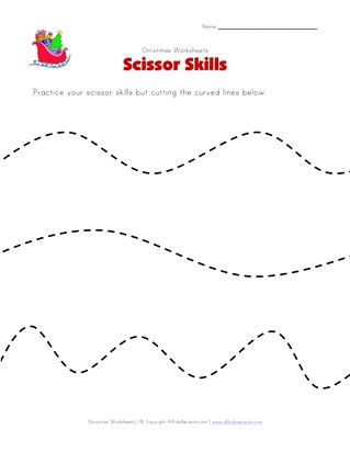 christmas scissor skills worksheet