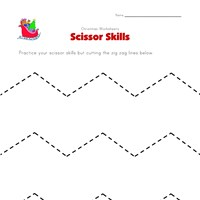 christmas cutting zig zag lines worksheet