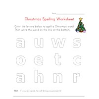 christmas spelling worksheet