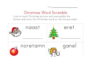 christmas word scramble worksheet