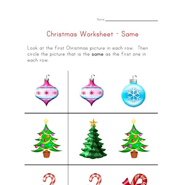 christmas worksheet recognize same things all kids network. Black Bedroom Furniture Sets. Home Design Ideas