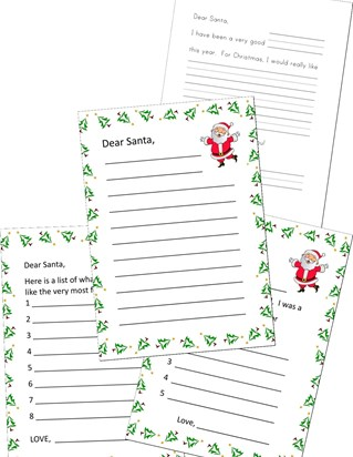 preschool letter to santa worksheet