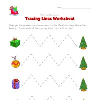 christmas tracing zig zag lines worksheet