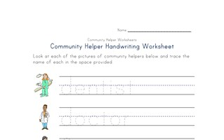 community helpers handwriting worksheet