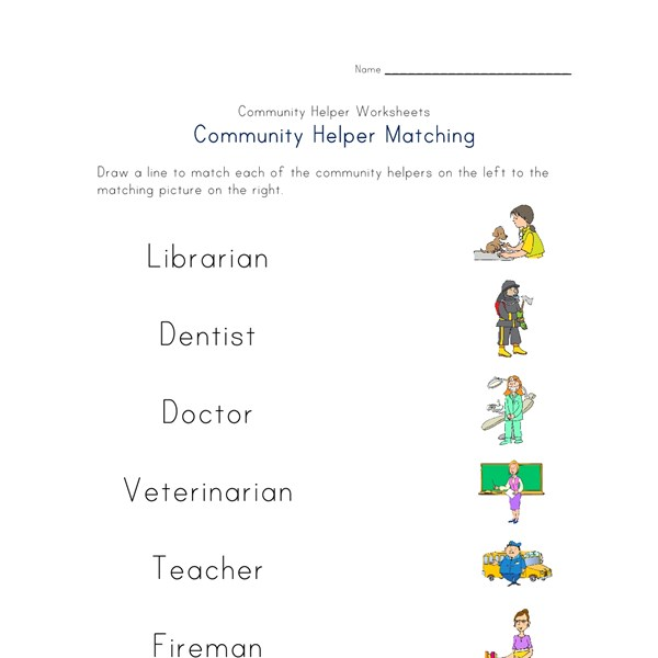 Worksheet Community Helpers Worksheets community helpers matching worksheet all kids network