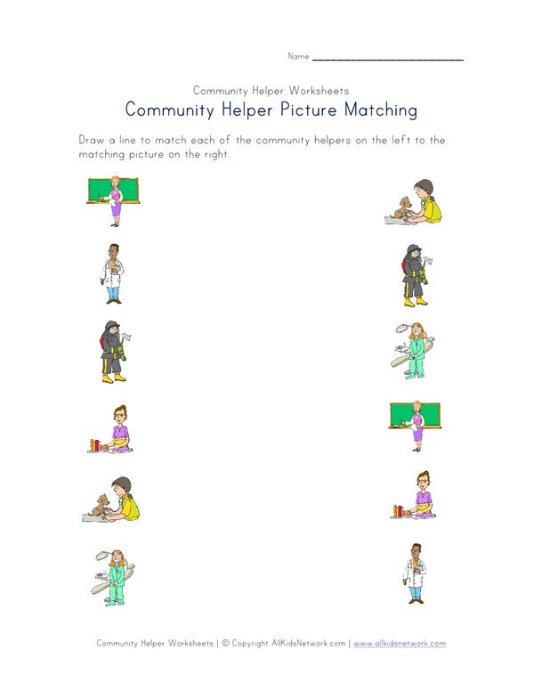 Community Helpers Picture Matching Worksheet All Kids Network