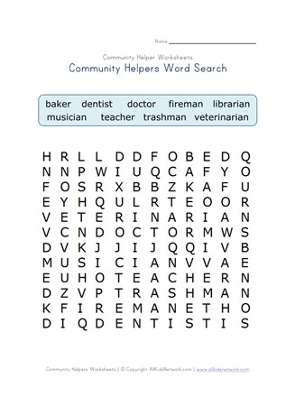 Fabulous Community Helpers Word Search All Kids Network Download Free Architecture Designs Jebrpmadebymaigaardcom