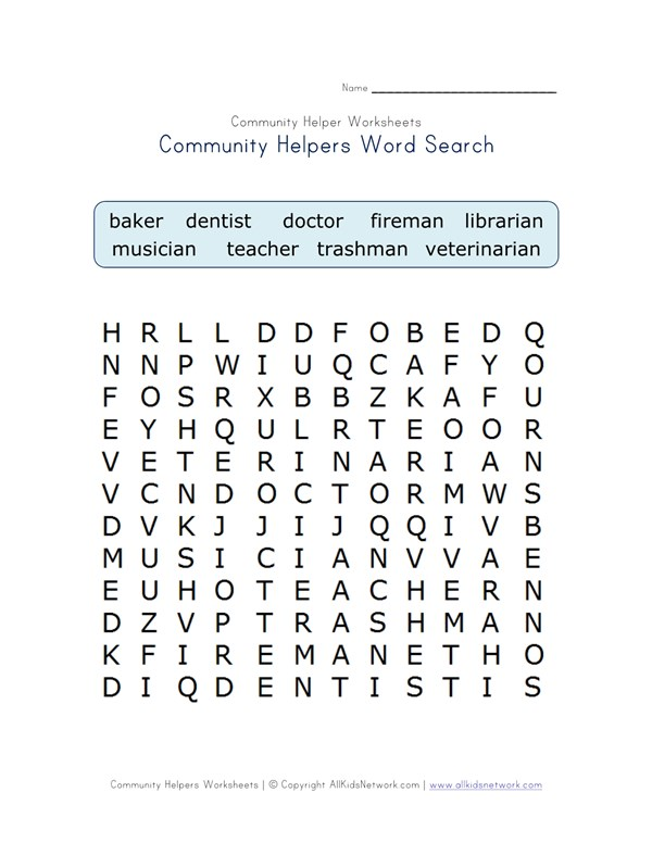 Community Helpers Word Search All Kids Network