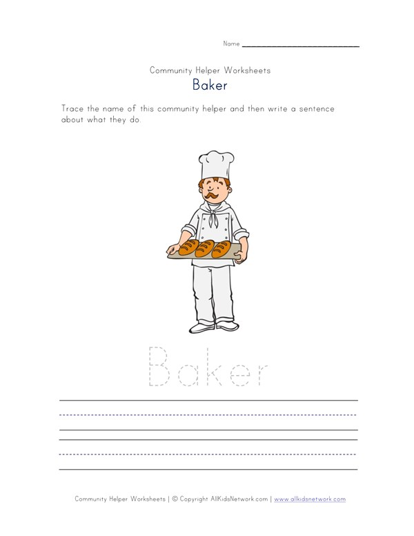 Baker Community Helper Worksheet All Kids Network