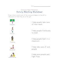 community helpers activity matching worksheet