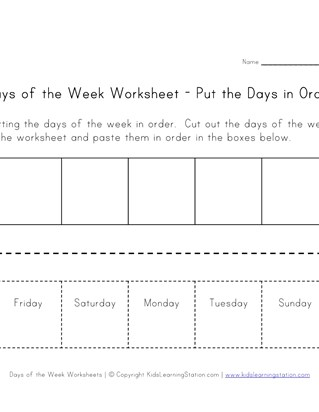 Days of the Week Worksheets | All Kids Network