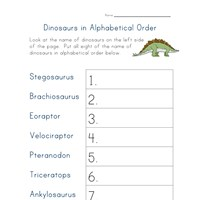 dinosaurs in alphabetical order worksheet