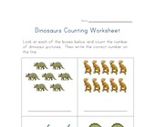 dinosaur counting practice worksheet