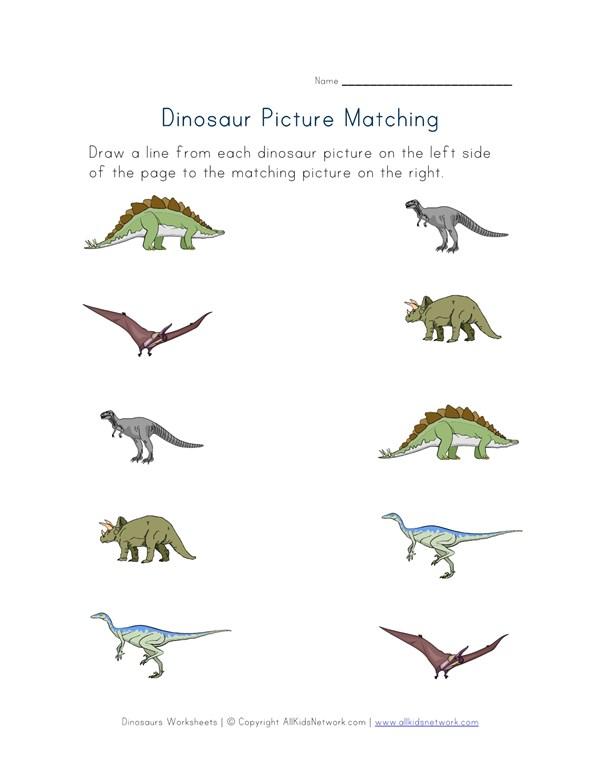 photo regarding Dinosaur Matching Game Printable titled Dinosaurs Matching Worksheet All Children Community