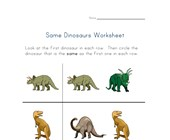 same dinosaurs worksheet