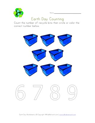earth day count eight worksheet