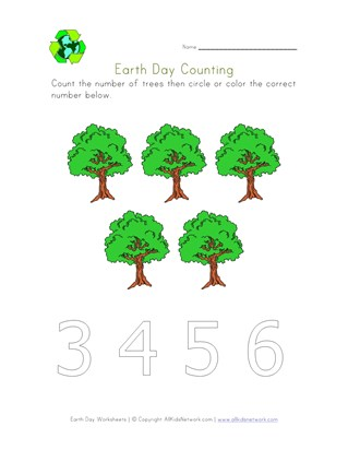 earth day count five worksheet