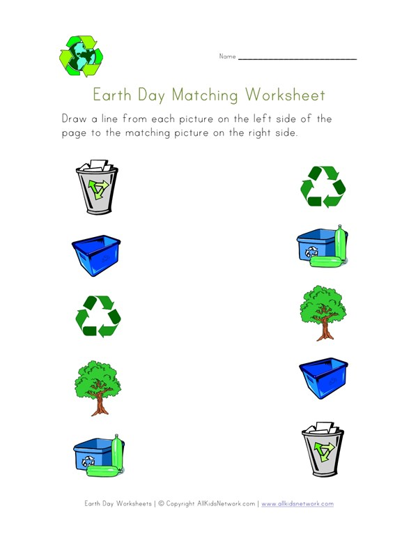 Earth Day Matching Worksheet | All Kids Network