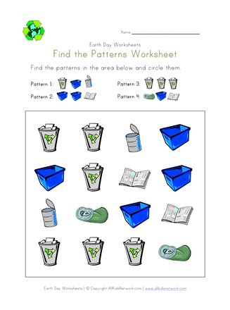 earth day pattern worksheet