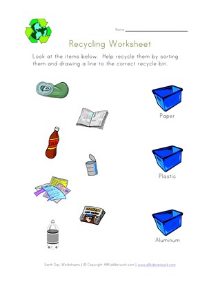 sort and recycling worksheet