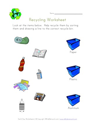Sort and Recycle Worksheet | All Kids Network