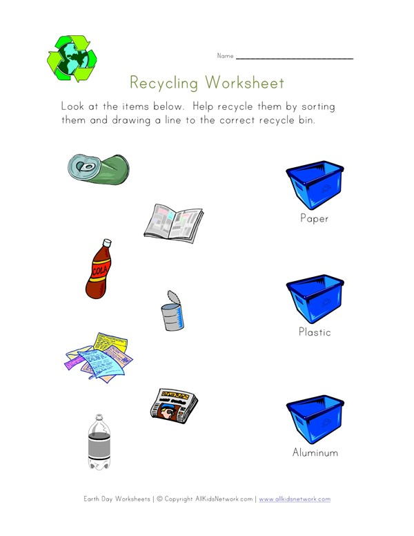 Sort And Recycle Worksheet