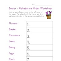 easter worksheet alphabetize