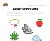 Easter Beginning Sounds - Secret Word Worksheet 1