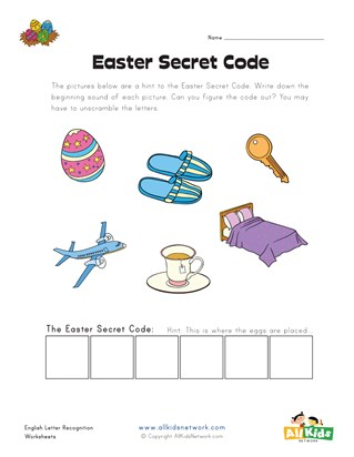 Easter Beginning Sounds - Secret Word Worksheet 2