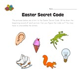 Easter Beginning Sounds - Secret Word Worksheet 3