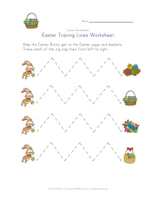 easter tracing lines worksheet