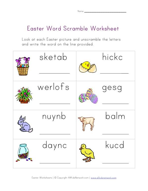 Easter Word Scramble Worksheet | All Kids Network