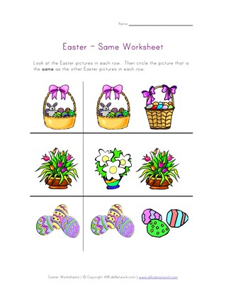 easter worksheet same